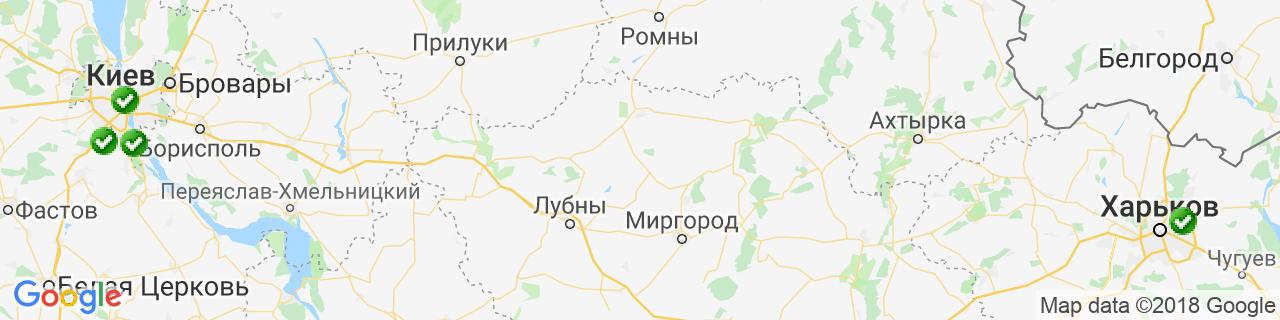 Карта объектов компании Шилд Украина