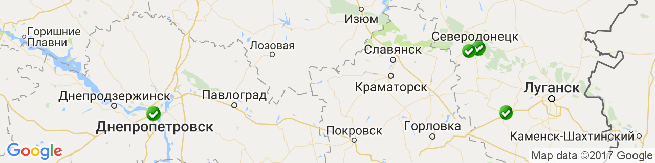 Карта об'єктів компанії СЕВСНАБ